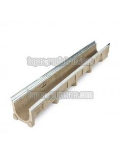 Canaleta de hormigón polímero de 125x1000 mm con perfil zincado