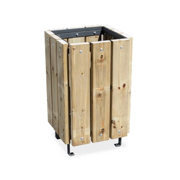 Papelera modelo canada cuadrada en madera pino tratado en autoclave - Madera de pino tratada ...