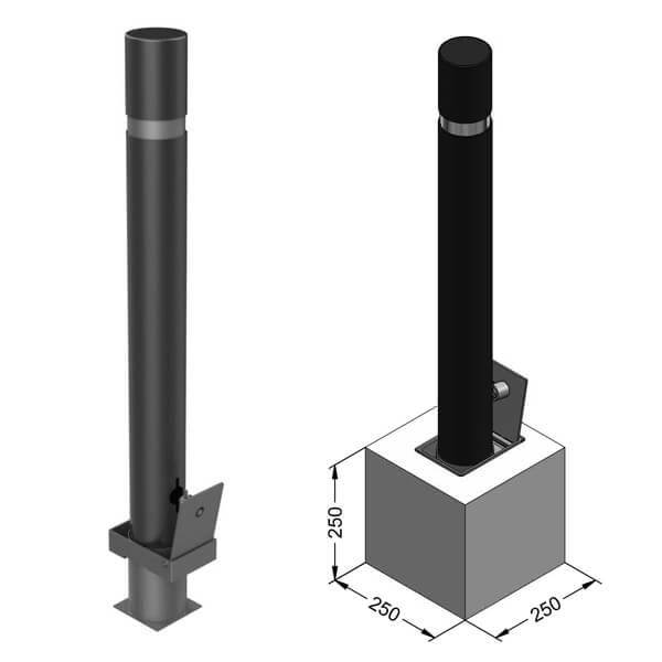 Pilona metálica cilíndrica desmontable con cierre - Montaje