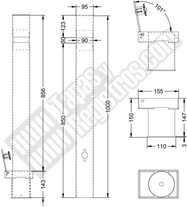 Pilona metálica cilíndrica desmontable con cierre