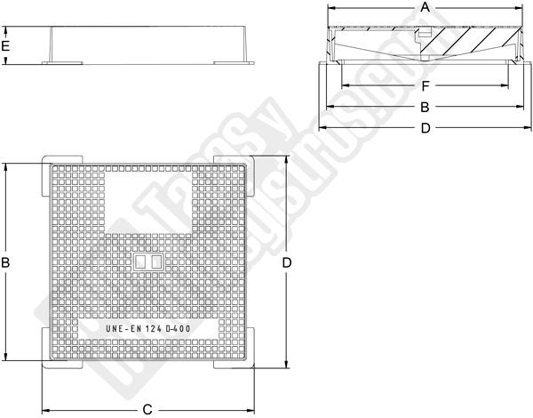 Tapas para arquetas en fundición dúctil clase D-400