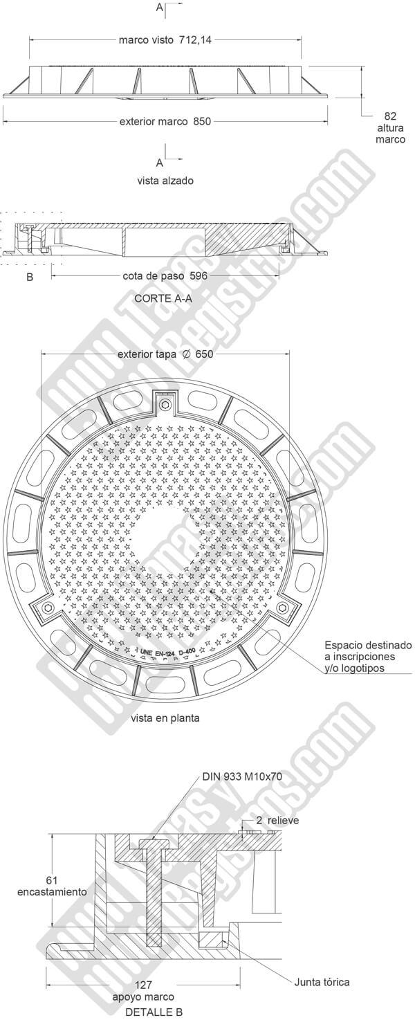 Tapas para arquetas en fundición dúctil D-400 Ø 650 mm estanca H 82 mm