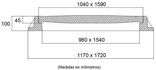 Tapas para arquetas de composite clase B-125 1590x1040 mm de 3 hojas