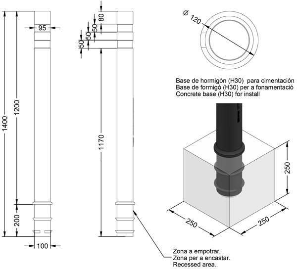 Pilona flexible de polipropileno modelo BARCELONA flexbook