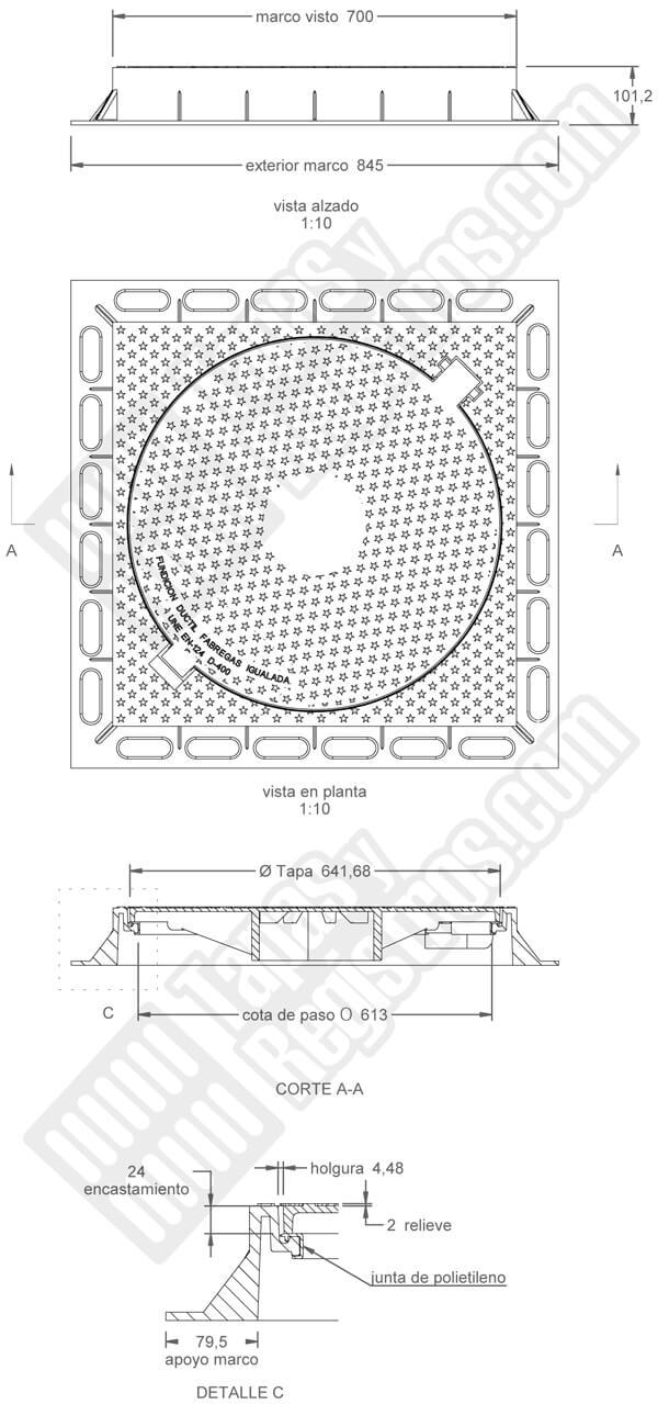 Tapas para arquetas en fundición dúctil D-400 Ø 641 mm H 100 mm