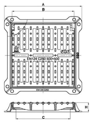 Rejilla de fundición dúctil cuadrada abatible Clase C-250 marco hidráulico