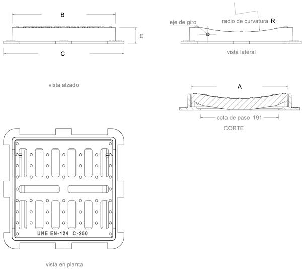 Rejilla de fundición dúctil cuadrada cóncava abatible Clase C-250