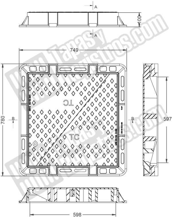 Tapas para arqueta ICT en fundición dúctil clase D-400 de 2 hojas