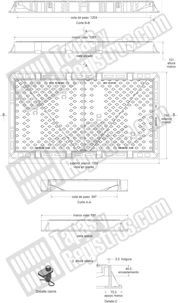 Tapas para arquetas de fundición dúctil D-400 1350x780 mm 4 hojas