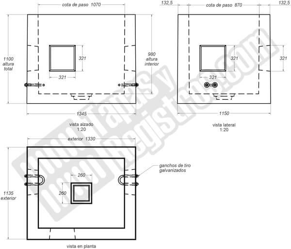 Arqueta de telecomunicaciones prefabricada hormigón 1330x1135x1100 H200 Tipo D