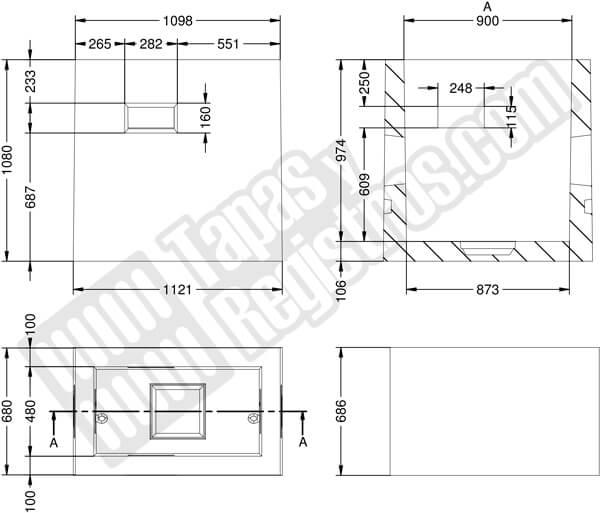 Arqueta telecomunicaciones prefabricada hormigón 1098x680x1080 H200 - Tipo DM
