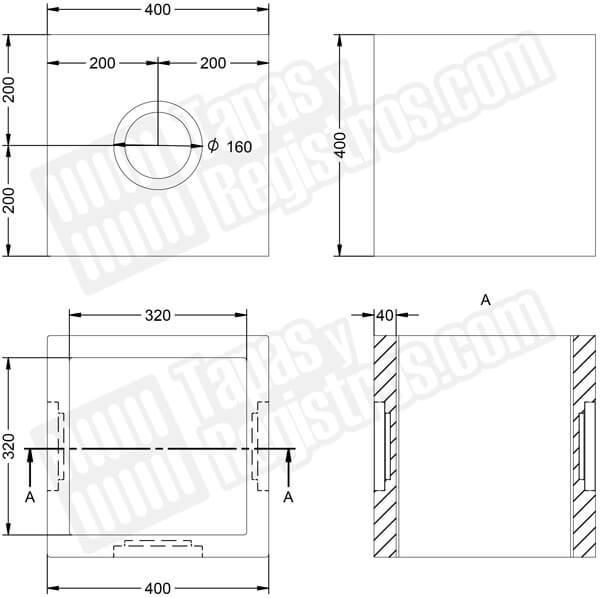 Arquetas prefabricadas de hormigón H200 con ventanas rectangulares