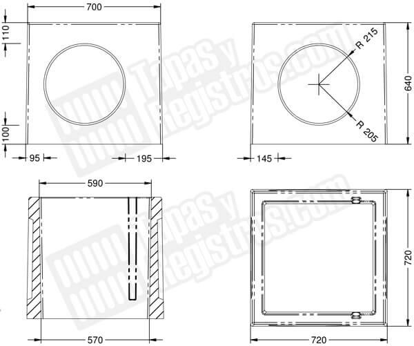 Arquetas prefabricadas de hormigón 700x700 con ventanas circulares