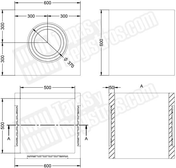 Arqueta prefabricada en hormigón H200 con ventanas circulares