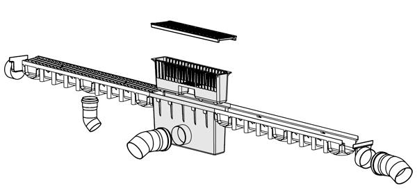Arqueta sifónica de polipropileno con cestillo y salida de 110 mm