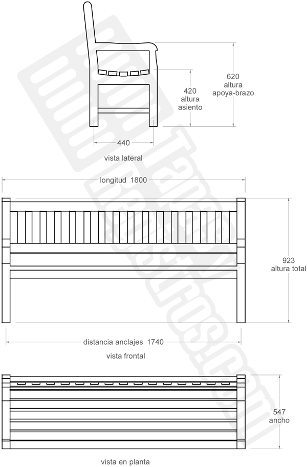 Banco urbano modelo ALPINO de madera tropical