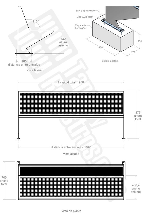 Banco de acero galvanizado modelo PERFORADA