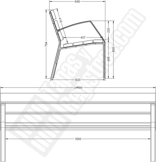 Banco de aluminio modo10 listones de madera de pino - Listones de aluminio ...