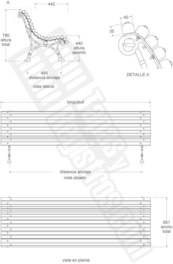 banco de fundición dúctil y madera modelo ROMANTICO