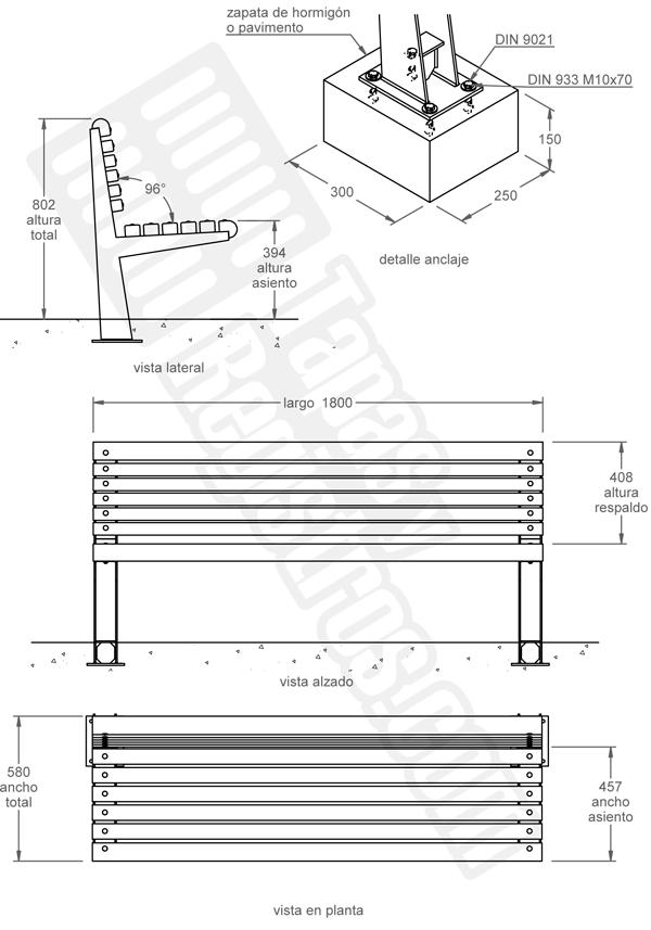 Mobiliario urbano bancos de acero galvanizado y madera modelo RONDA