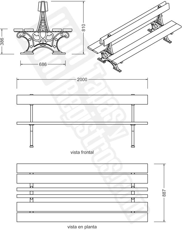 banco de fundición dúctil y madera modelo VERSALLES