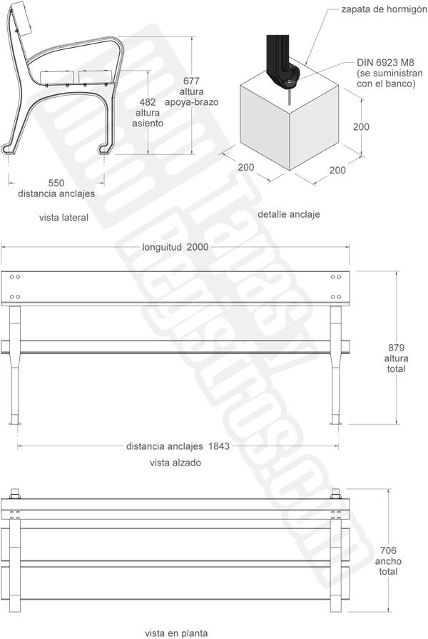 Mobiliario urbano banco de fundición dúctil y madera modelo VITORIA