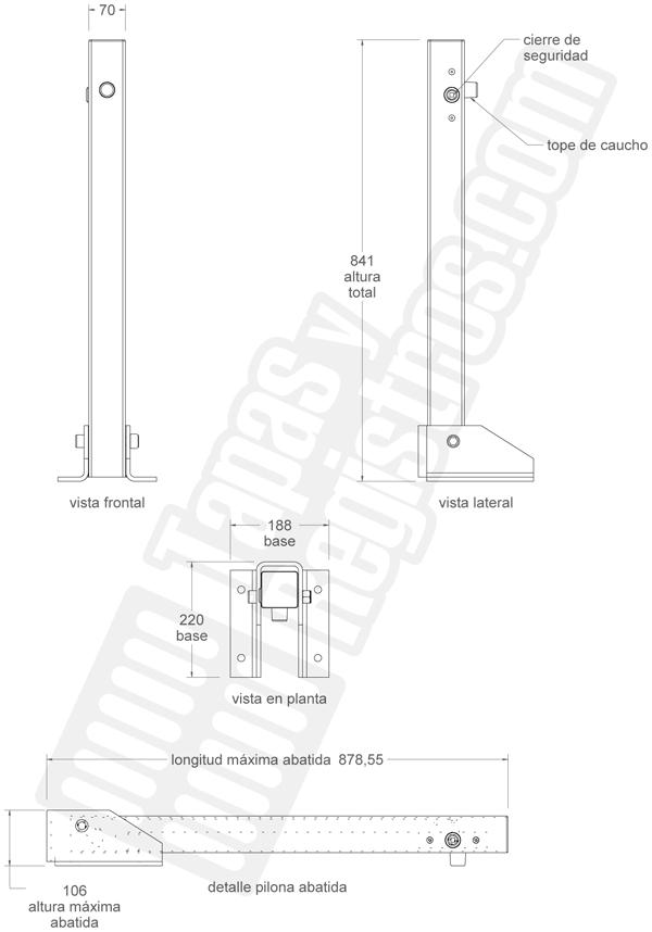 Pilona abatible metálica con cierre seguridad