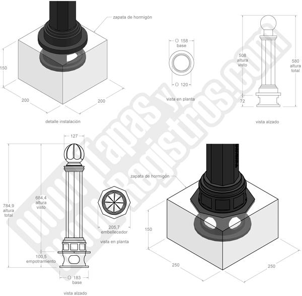 Pilona de fundición modelo VALENCIA ANTIGUA