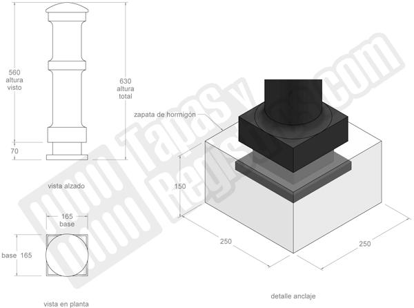 Bolardos de fundición fijo o pilona de fundición modelo BARCELONA