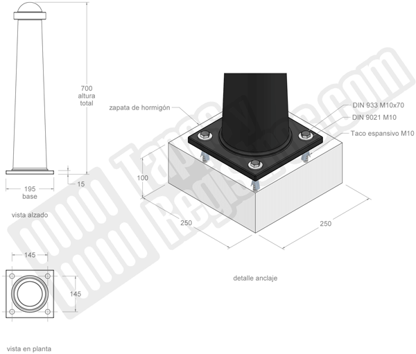 Bolardos de fundición modelo SANT FELIU altura 70 cm