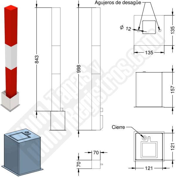 Pilona metálica cuadrada desmontable con cierre