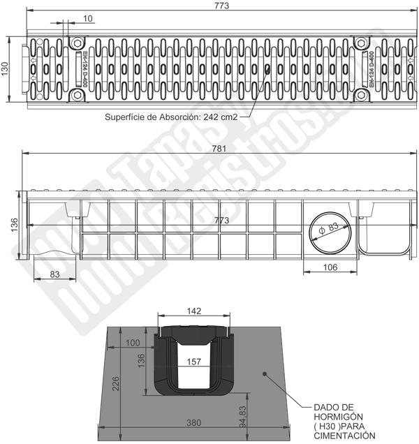 Canaleta y rejilla de composite 150x775 mm - Clase D-400