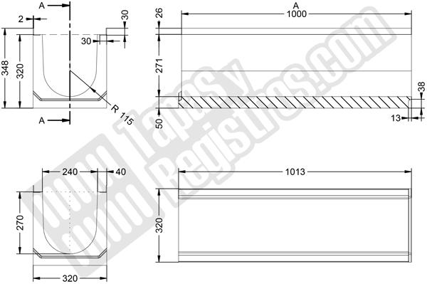 Canaleta prefabricada de hormigón H-200 320x1000 mm con perfil zincado