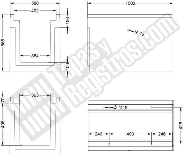 Canaleta prefabricada de hormigón H-200 580x1000 mm con perfil zincado