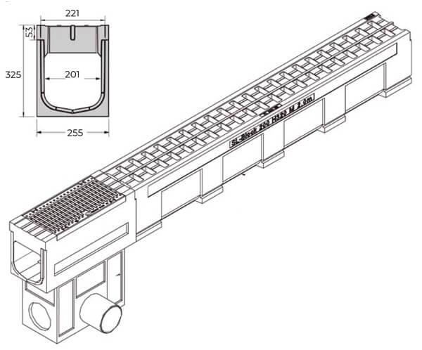 Canaleta de hormigón polímero de 255x1000 mm con reja F900 - SL-Block 200