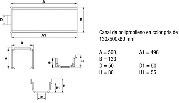 Canaleta de polipropileno normal sin pendiente