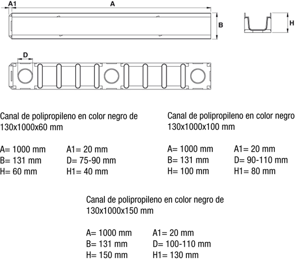 Canaleta de polipropileno reforzada color negro sin pendiente