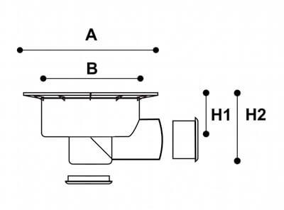 Cazoleta de PVC con salida horizontal