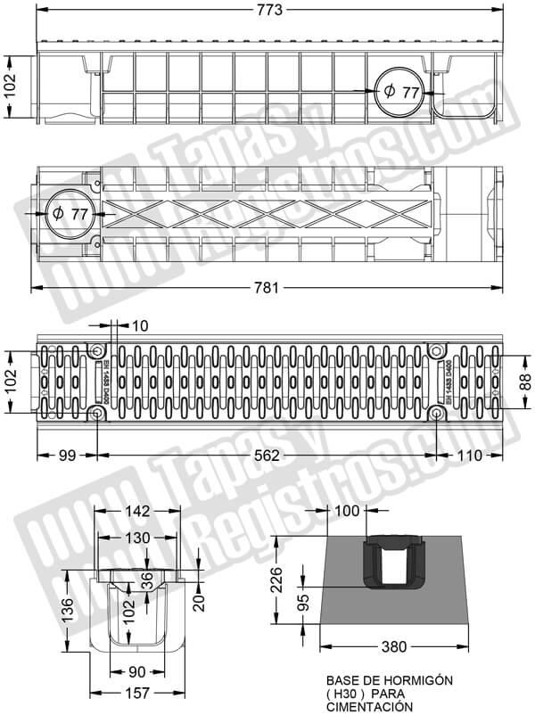 Canaleta y rejilla de composite de medidas 157x781 mm - Clase D-400