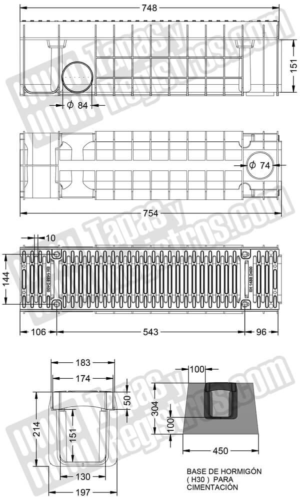 Canal y reja de composite de medidas 197x754x214 mm - Clase D-400