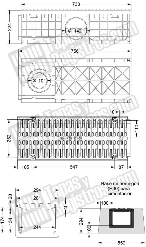 Conjunto canaleta de polipropileno con reja de fundición 157x781 D400