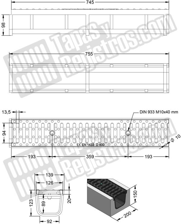 Conjunto canal y rejilla de fundición 139x755 mm - Clase D400