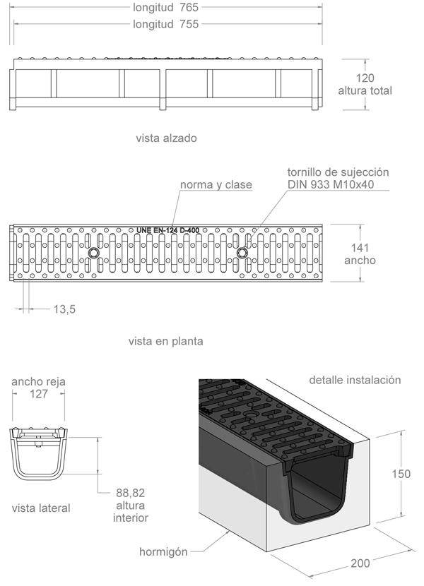 Conjunto canal y rejilla de fundición 150x750 mm - Clase D400