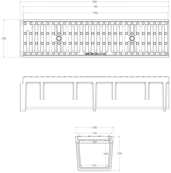 Conjunto canal y rejilla de fundición 200x750 mm - Clase D400