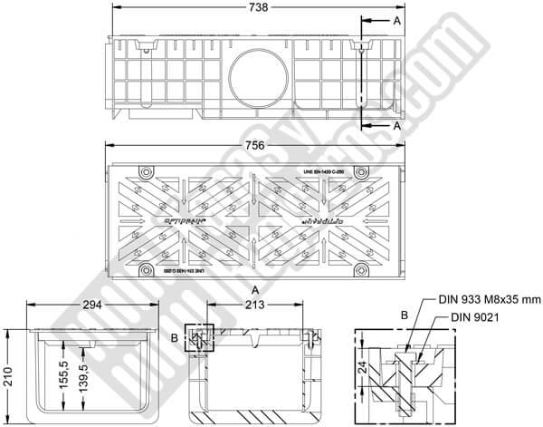 Conjunto canal polipropileno y rejilla de fundición 300x750 mm - Clase C250