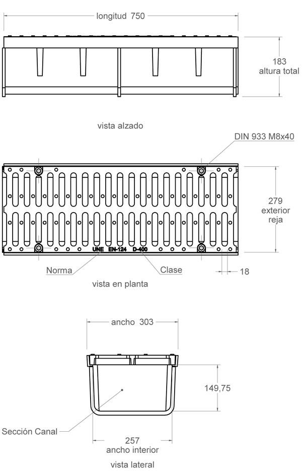 Conjunto canal y rejilla de fundición 300x750 mm - Clase D400