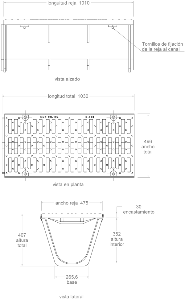 Canaleta y rejilla de fundición dúctil 496x1030 mm - Clase D400