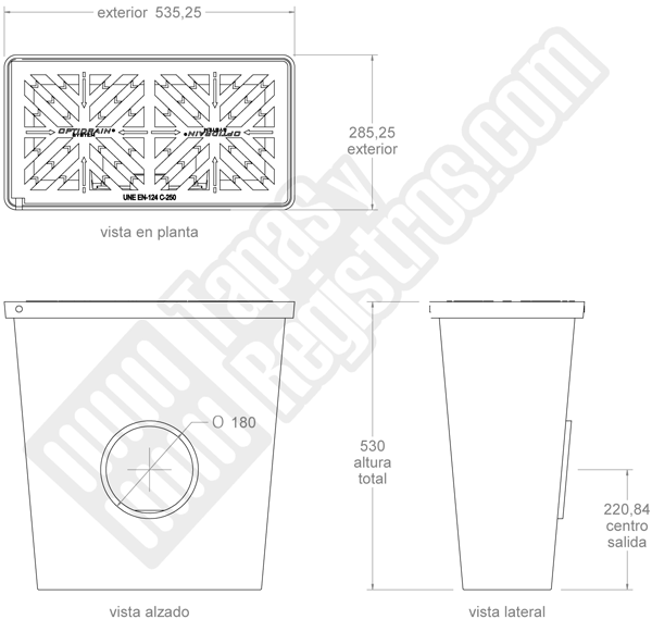 Imbornal sifónico de fundición con reja abatible 535x285x530 mm
