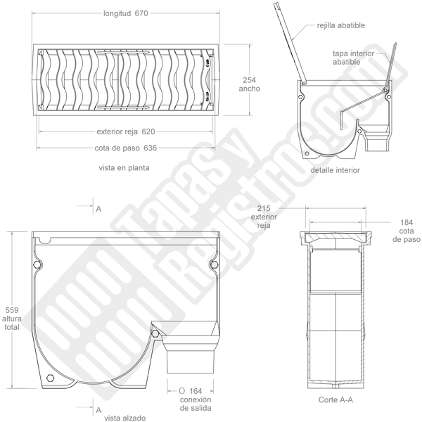 Imbornal sifónico de fundición con reja abatible 670x254x559 mm