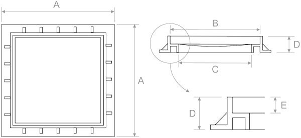 Marco para tapas de arquetas de polipropileno para aguas - Arquetas prefabricadas pvc ...